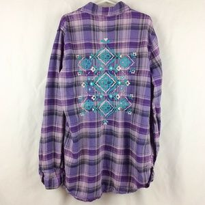 Justice Plaid Tunic Top Aztec Floral Embroidered